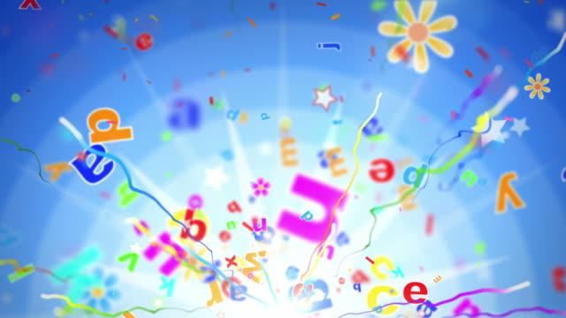 Fun Kids Background Loop - Alphabet Letters Blue (Full HD) video