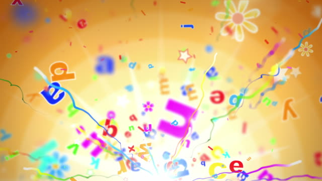 Fun Kids Background Loop - Alphabet Letters Orange (Full HD) video
