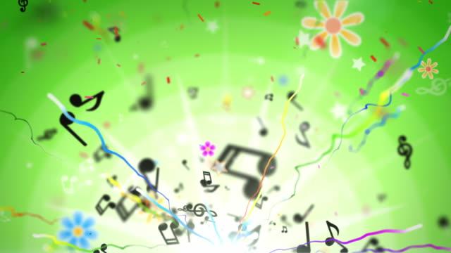 Fun Kids Background Loop - Musical Notes Green (Full HD) video