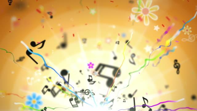 Fun Kids Background Loop - Musical Notes Orange (Full HD) video