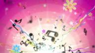 Fun Kids Background Loop - Musical Notes Tropical Pink HD video