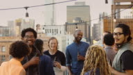 Fun Modern Young People at Rooftop Party video