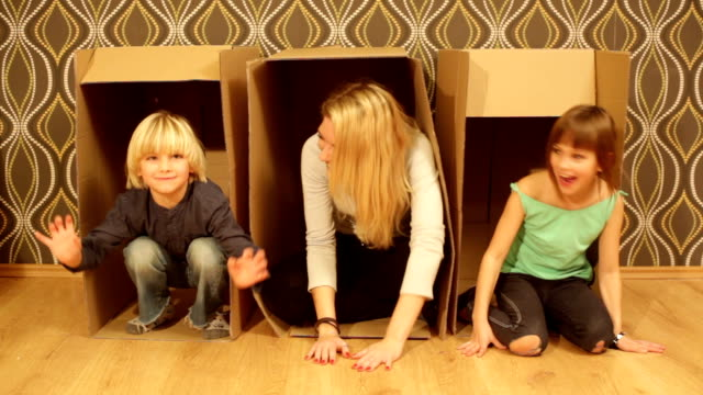 fun with mom. hidden in boxes. video