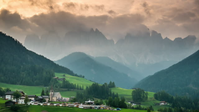 Funes valley Val di funes dolomites Italy sunrise time , Time Lapse video