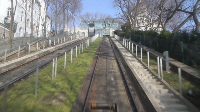 Funicular cable car at Montmartre in Paris video