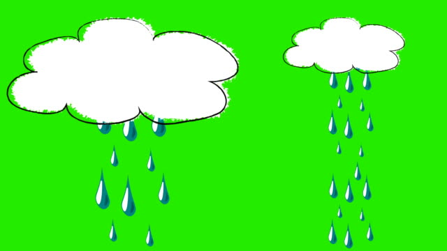 Funny Cartoon of a Single Raining Cloud on a Green Screen Background video