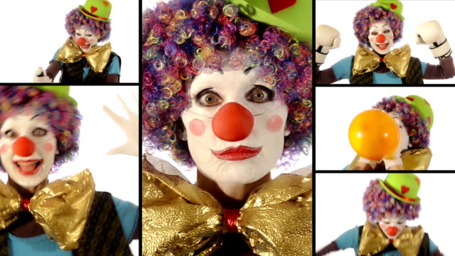 A funny clown, collage video