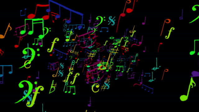 Funny colorful musical notes zoom in loopable full HD video