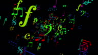 Funny colorful musical notes zoom out loopable full HD video