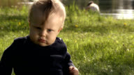 Funny grumpy baby. video