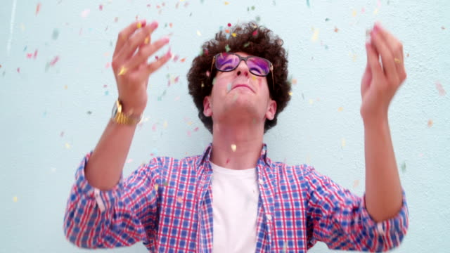 Funny nerd dancing and throwing  confetti video