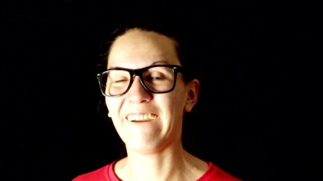 Funny nerd woman talking video