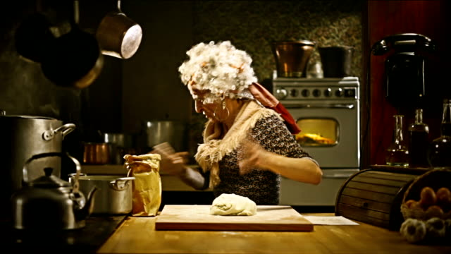 Funny old lady cooking dinner video