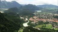 FUSSen And Castle  - Aerial View - Bavaria,  Swabia,  Landkreis Ostallgäu helicopter filming,  aerial video,  cineflex,  establishing shot,  Germany video
