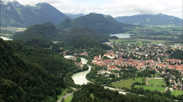 FUSSen And Castle  - Aerial View - Bavaria,  Swabia,  Landkreis Ostallgäu helicopter filming,  aerial video,  cineflex,  establishing shot,  Germany video