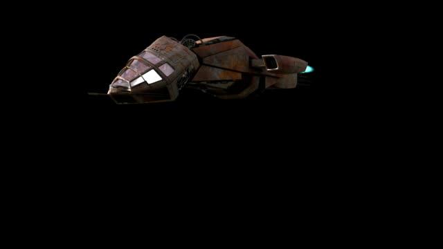 Futuristic 3D battleship craft flying video