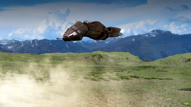 Futuristic 3D battleship craft video