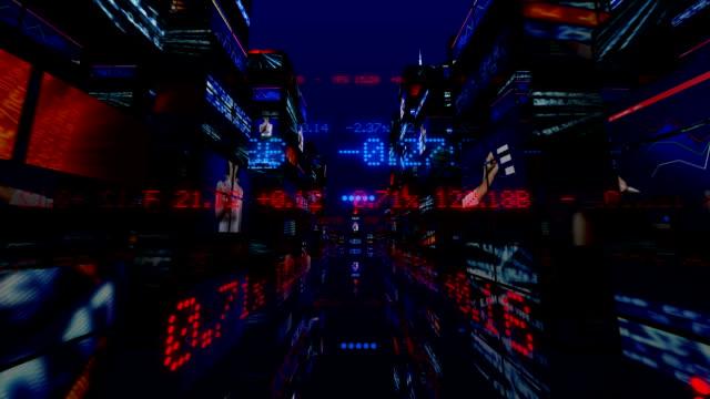 Futuristic 3D Stock Market City video