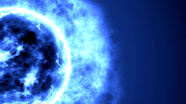 Futuristic abstract blue sun in space with flares. Great futuristic background video