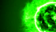 Futuristic abstract green sun in space with flares. video