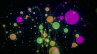 Futuristic animation with light bubbles in motion, loop HD video