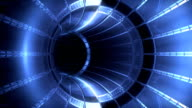 Futuristic blue light tunnel, seamless loop video