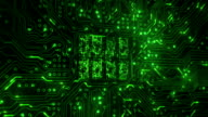 Futuristic circuit board with moving electrons. 180. Loopable. Technology. Green. video