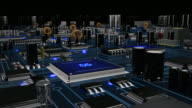 Futuristic circuit board with moving electrons. Loopable. Blue. Technology background. video