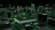 Circuit Board with moving electrons. Green. video