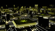 Futuristic circuit board with moving electrons. Loopable. Technology background. White-yellow. video