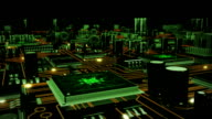Futuristic circuit board with moving electrons. Loopable. Technology background. Orange-green. video