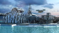 Futuristic city with marina and hoovering aircrafts video