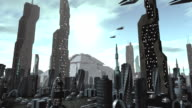 Futuristic city with spaceships passing by video