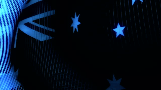 Futuristic Glitching Australia flag waving in computer technology ominous environment video