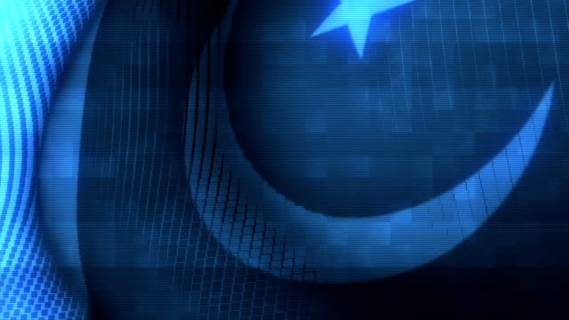 Futuristic Glitching Pakistan flag waving in computer technology ominous environment video