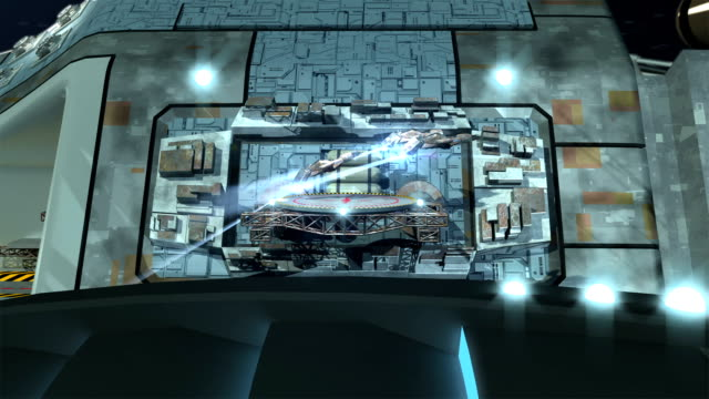 Futuristic, highly detailed interstellar spaceship video