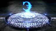 Futuristic hologram of the Euro sign [Loop] full HD video
