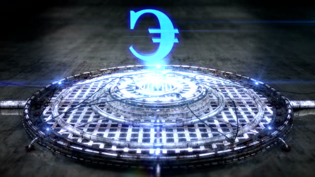 Futuristic hologram of the Euro sign [Loop] full HD video