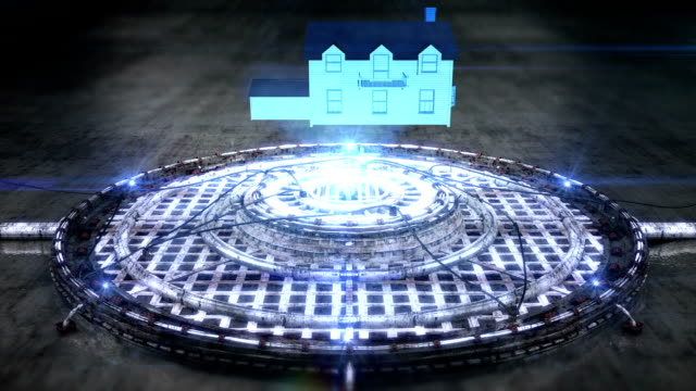 Futuristic hologram of the House [Loop] full HD video