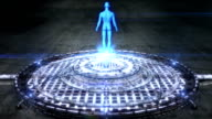 Futuristic hologram of the man's body [Loop] full HD video