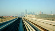 HD: Futuristic metro railway in Dubai, United Arab Emirates video