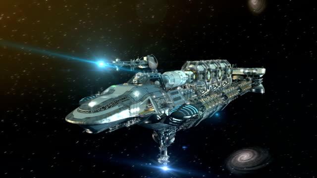 3D Futuristic military spacecraft in deep space video