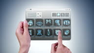 Futuristic mini-tablet with MRI videos. video