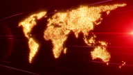 Futuristic moving world map and lights, loop HD video