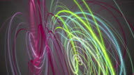 Futuristic particle stripe object in motion, loop HD video