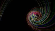 Futuristic particle stripe object with light in motion, loop HD video