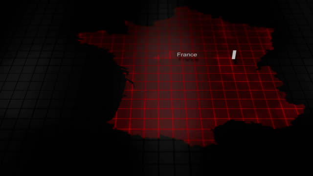 Futuristic Red digital ominous map of France video