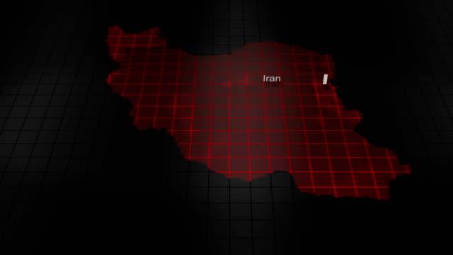 Futuristic Red digital ominous map of Iran video