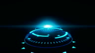 Futuristic screensaver with code hologram. HUD Heads Up Display Scanner high tech target digital read out video