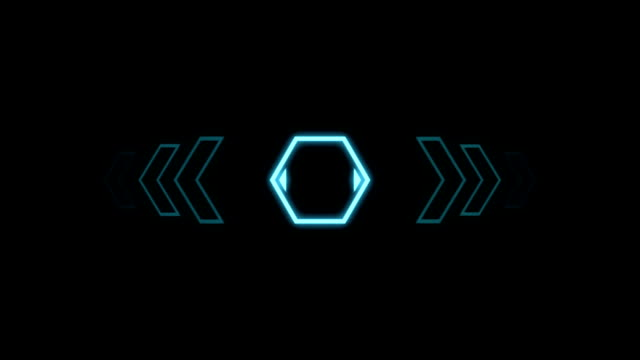 Futuristic screensaver with hex corner. HUD Heads Up Display Scanner high tech target digital read out. Abstract digital background with geometric particles video
